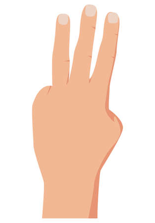 Gesture with lifted fingers up showing number three. Vector illustration of counting hand isolated on white background