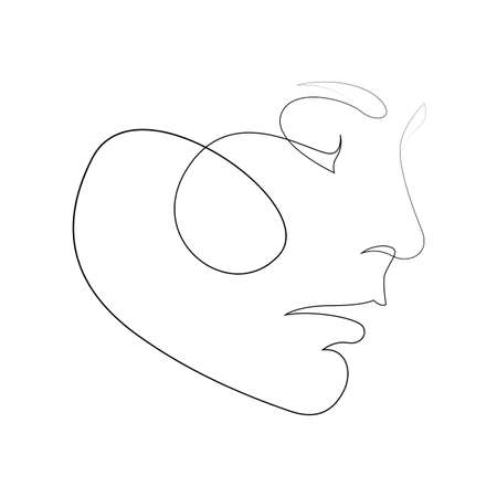 One line girl or woman portrait design. Hand drawn minimalist style vector illustration. Фото со стока - 163539224