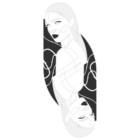 Woman face continuous line drawing. Fashion concept, woman beauty minimalist, vector illustration for t-shirt. Dual similar portraits like on cards.