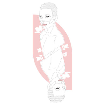 Hand drawn abstract woman portrait in minimalistic graphic style. Female beauty figure icon with red color isolated on white background. One line continuous sketch. Dual portraits like on cards.
