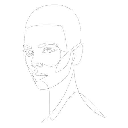 One line girl or woman portrait design. Hand drawn minimalism style vector illustration. Фото со стока - 163957251