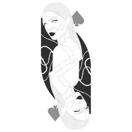 Queen of spades one line illustration. Minimal design beautiful woman inspired by playing cards.