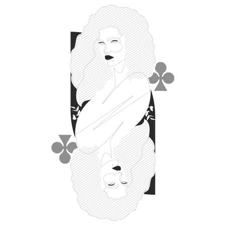 Queen of clubs one line illustration. Minimal design beautiful woman inspired by playing cards.