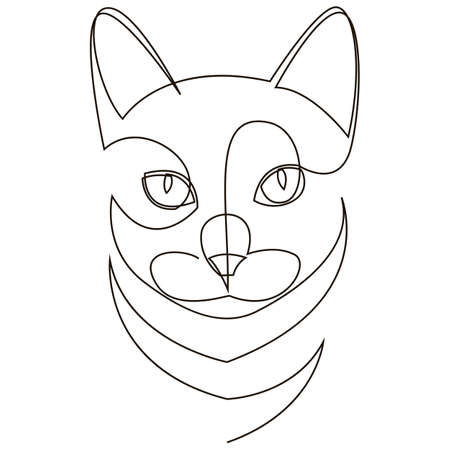 A cat head drawn by a single black line on a white background. One-line drawing. Continuous line. Vector Иллюстрация