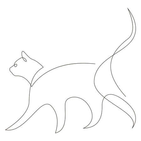 One line cat design silhouette. Hand drawn minimalism style vector illustration. Иллюстрация