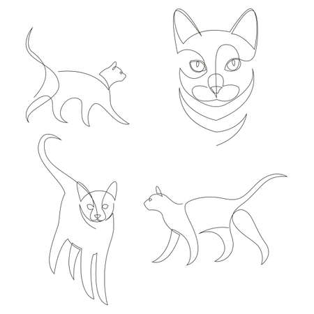 Continuous line drawing set of cat animal. Minimalist style vector illustration collection. Иллюстрация