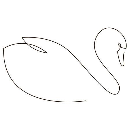 One line swan design silhouette. Hand drawn minimalism style vector illustration. Иллюстрация