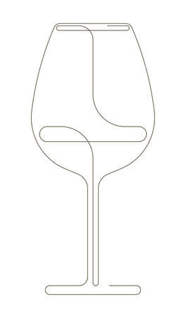 Continuous one line drawing of wine glass. Vector illustration isolated on white background. Minimalism design of beverage element. Иллюстрация