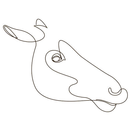 One line horse design silhouette. Hand drawn minimalism style vector illustration.