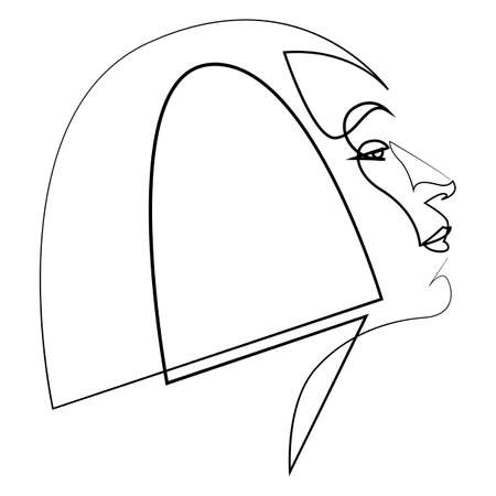 Woman face continuous line drawing. Fashion concept, woman beauty minimalist, hairstyle vector illustration.