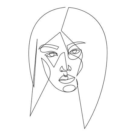 Abstract face one line drawing. Beauty woman portrait. Minimalistic style vector illustration.