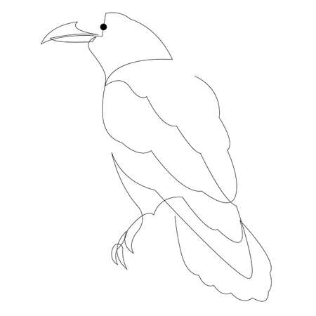 Continuous line raven. Single line minimal style crow vector illustration. Abstract bird drawing.