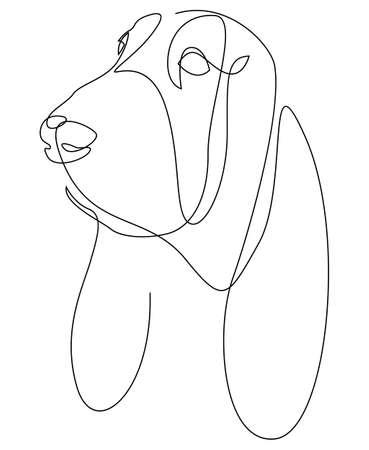 Continuous line Basset Hound. Single line minimal style dog vector illustration. Portrait.