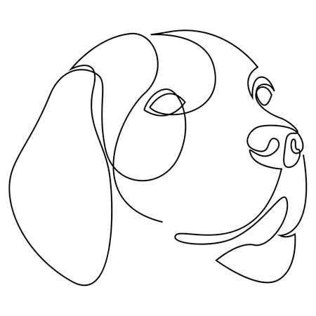 Continuous line Beagle. Single line minimal style dog vector illustration. Portrait.