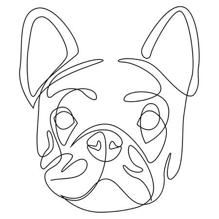 French bulldog one continuous single drawn line art vector illustration. Dog head doodle one line style.