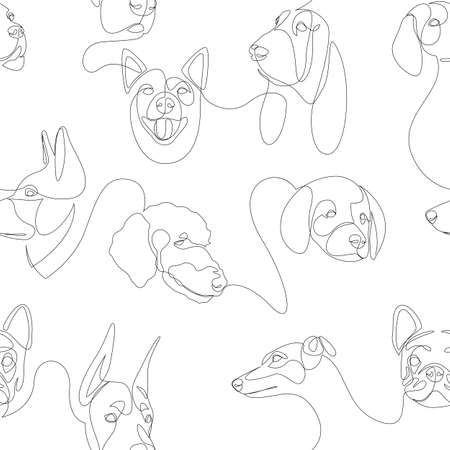 Heads of dogs minimal line seamless pattern. Vector illustration background.