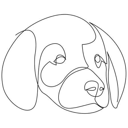Single continuous line drawing of cute labrador retriever puppy dog head for logo identity. Purebred dog mascot concept for pedigree friendly pet icon. Modern one line draw design vector illustration.