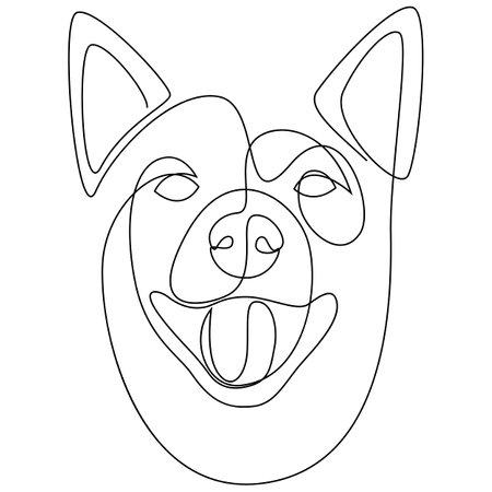 Continuous line Shiba Inu. Single line minimal style dog vector illustration. Dog head. Иллюстрация
