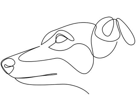 Continuous line Whippet. Single line minimal style English Whippet or Snap dog vector illustration. Dog head.