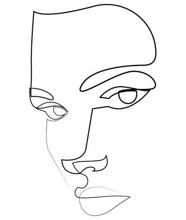 One line girl or woman portrait design. Hand drawn minimalism style vector illustration.
