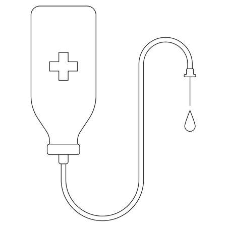Medical drop counter vector icon isolated on white. Black and white drop counter flat illustration. Medical healthcare concept.