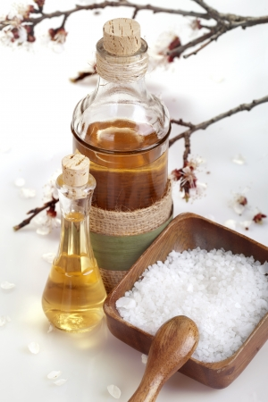 Essential aroma oil and sea salt photo