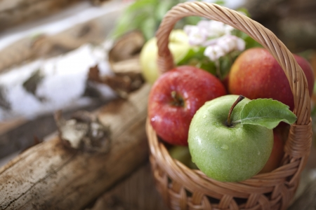 Healthy Organic Apples in the Basket. Stock Photo - 20786756