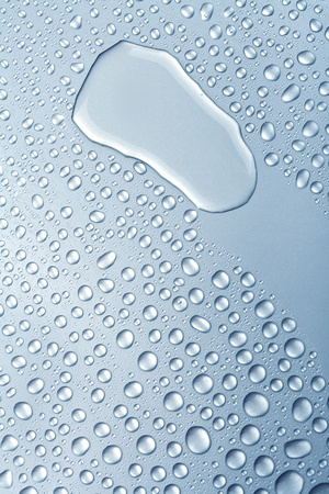 water drops on metalilc surface