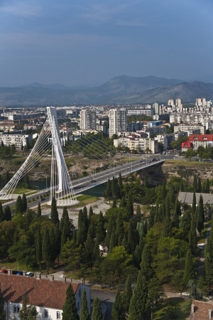 Millennium bridge over Moraca river, Podgorica, Montenegro