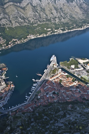 kotor: Bay of Kotor in Montenegro Stock Photo