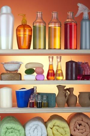 cosmetics in bathroom photo