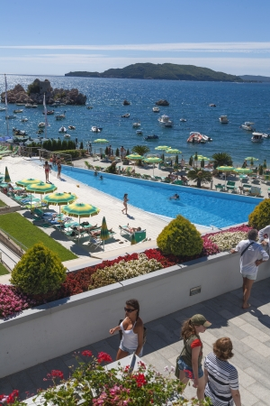 Hotel pool and beach in Budva riviera, Montenegro
