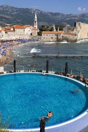 inground: Swimming pool overlooking the beach in Budva, Montenegro Editorial