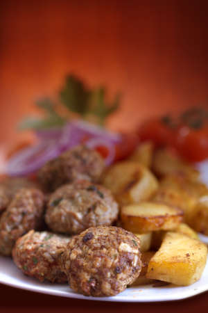 meatballs served with potatoes Stock Photo - 21499563