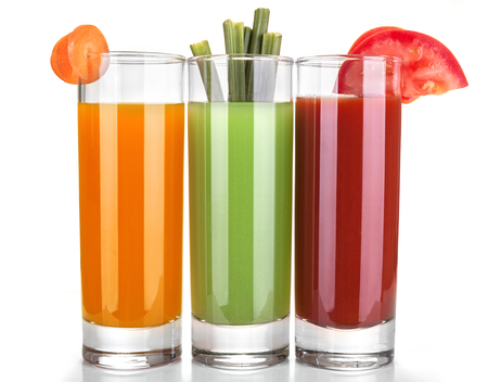 carrot juice: juice of carrots, celery and tomatoes Stock Photo
