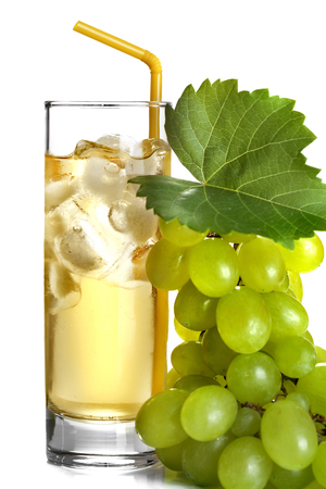 white grapes and grape juice with ice photo