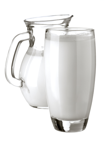 milk jug and the glass isolated on white background