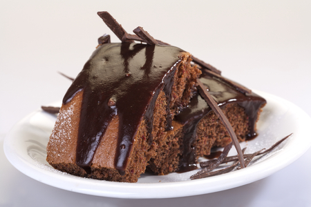 topped: delicious traditional homemade cake topped with chocolate