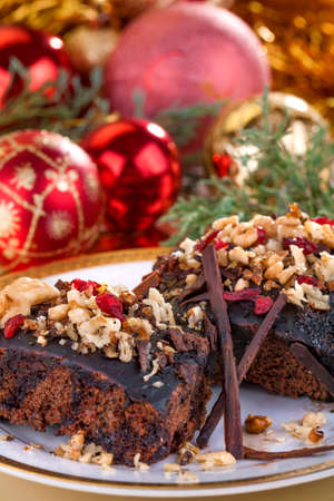 delicious traditional homemade cake with Christmas decorations photo