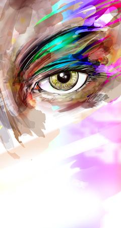 kunst illustratie van vrouwelijke oog met make-up