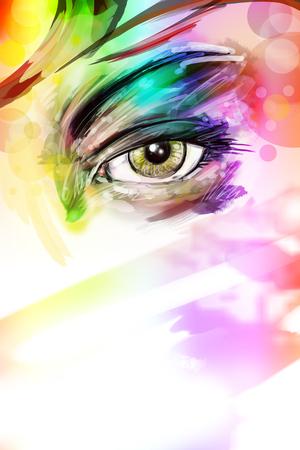 art illustration of female eye with makeup