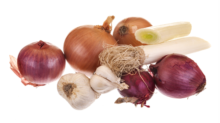 different types of onions isolated on white background photo