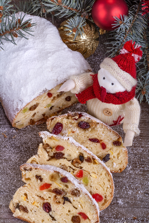 traditional homemade Christmas sweet bread with dried fruit photo