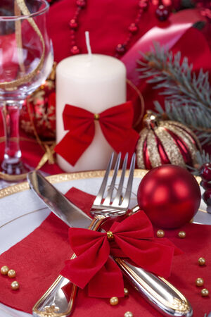 festively: festively decorated table to celebrate the New Year or Christmas