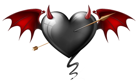 black heart with diabolical elements  pierced by an arrow  photo