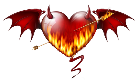 diabolical: fiery heart with diabolical elements with arrow of fire