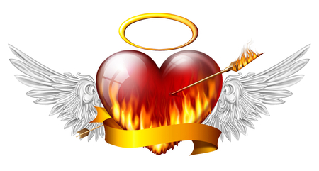 sash:  fiery heart with angel wings and sash pierced by an arrow of fire Stock Photo