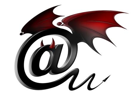 """virus informatico: Símbolo """"arroba"""", icono de correo electrónico con elementos diabólicos, como un símbolo de la amenaza de virus y hackers"""