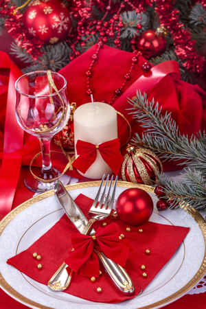 festively decorated table to celebrate the New Year or Christmas