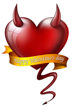 fateful: heart with diabolical properties with sash and message for Valentines Day